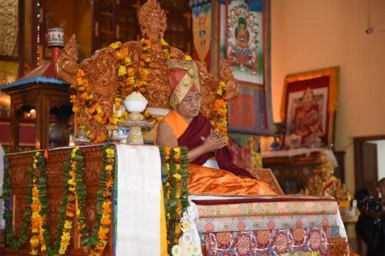 第四十一任萨迦法王达赤仁波切在普鲁瓦拉萨迦藏人定居点举办的长寿祈愿法会上 2019年2月21日 照片/Paang Dhondup/CTA