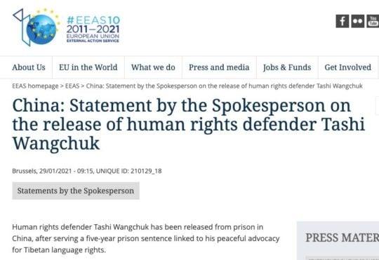 欧盟发言人在官方网站上发布的声明 照片/欧盟官网